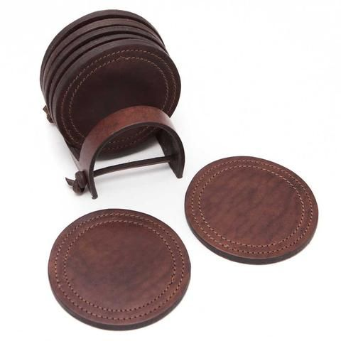 Leather Coaster Set - 4 Inch
