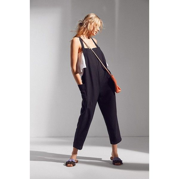 BDG Shapeless Cropped Overall (300 MYR) ❤ liked on Polyvore featuring jumpsuits, overalls jumpsuit, bib overalls, lightweight bib overalls, bdg and lightweight overalls