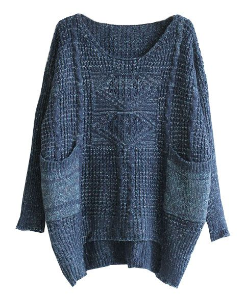 Dark Blue High Low Hem Cable-knit Sweater