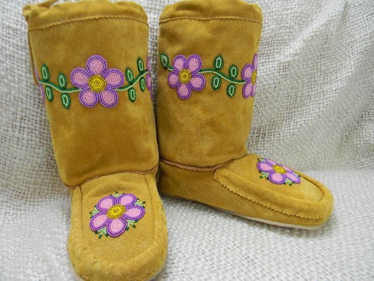 Mukluks - Pink and Purple Flowers, Size 10, Piikani Nation http://mocs.ca/product/mukluks-pink-and-purple-flowers-size-10/