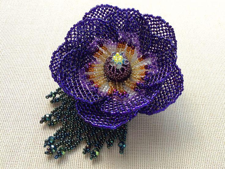 Asimetrik glitter anemon boncuk çiçek buketi