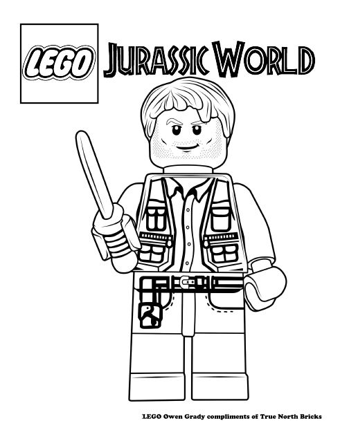 LEGO Colouring Page Owen Grady Lego Lego jurassic