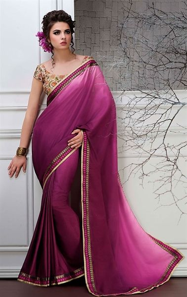 Picture of Violet Color Saree With Beautiful Plain Pallu