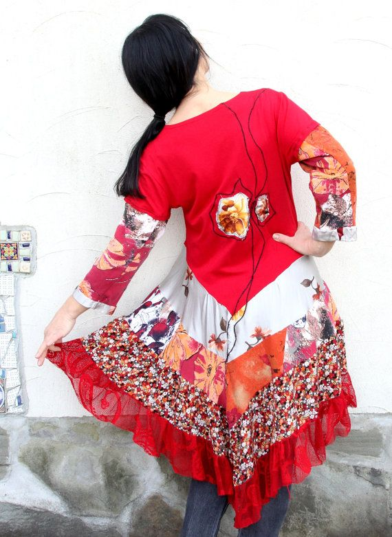 L Romantic floral appliqued recycled dress tunic by jamfashion