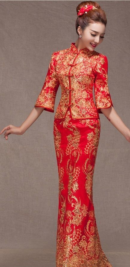 Red Brocade Gold Pheonix Embroidery Traditional Qipao Chinese ...