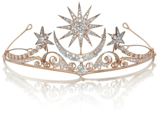 A moon + star diamond tiara, circa 1900 - - who doesn't need a tiara for princess days?