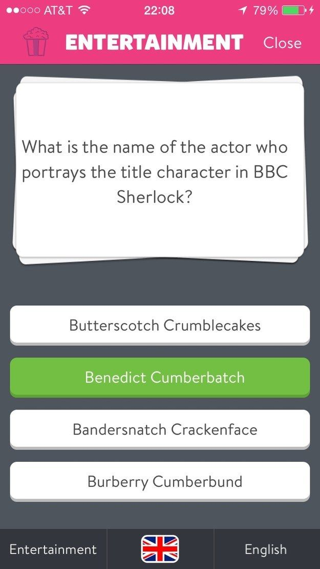 """Loved Bandersnatch Crackenface in Sherlock.   15 """"Trivia Crack"""" Answers So Dumb You Almost Want To Choose Them"""