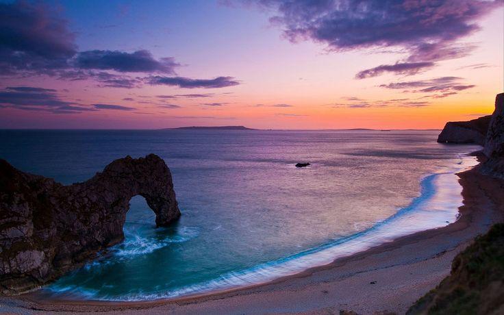 Manzara, doğa, deniz, okyanus, su, plaj, gökyüzü, beach, çakıl taşları, rock, rock, kemerler vektör