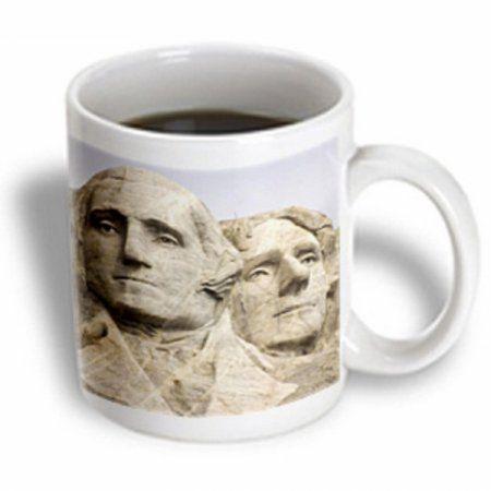 3dRose Closeup of Presidents Washington and Jefferson. Mount Rushmore National Park, South Dakota, Ceramic Mug, 15-ounce