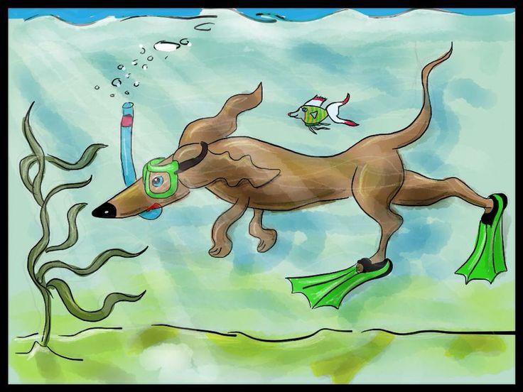 Doggy swimming to freedom Childrenbook illustration (drawn Erik Rutten)