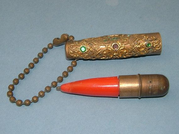 1930s Art Deco Small Gold Metal Handbag Pen with by BiminiCricket, $45.00