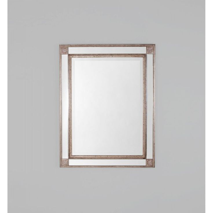 Traditional mirror with a decorative frame and mirrored outer frame panels.