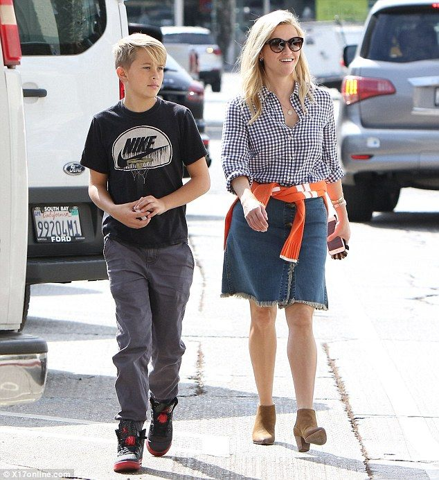 Table for two! Reese Witherspoon looked to be in good spirits as she treated her son Deacon Phillippe to breakfast after celebrating his 13th birthday over the weekend