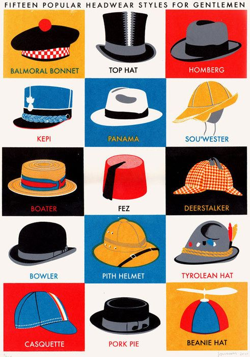Fifteen popular headware styles for gentlemen. Personally, I'm partial to the turban.