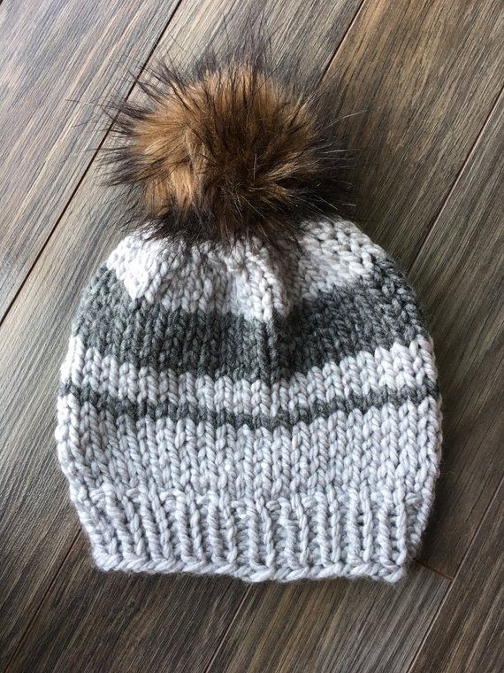 4e1d5777a2d Toddler- Striped Winter Toque With Faux Fur Pom - Grey and Silver ...