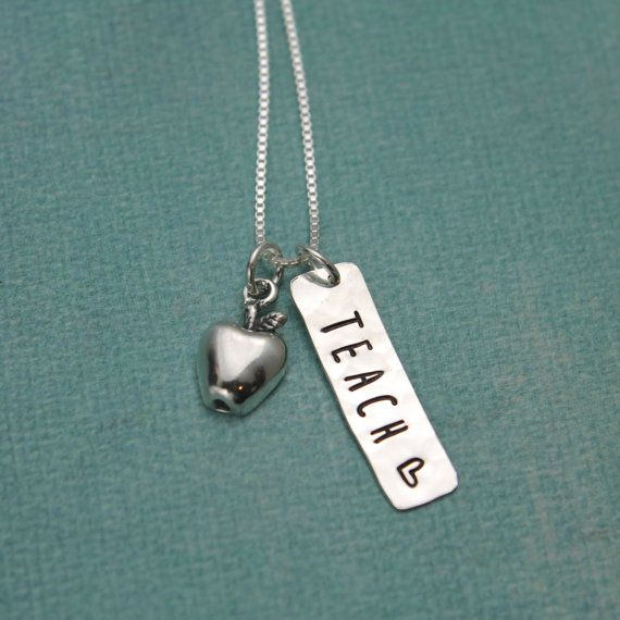 Teach Apple Teacher Necklace - Personalized - Sterling Silver with Apple Charm For a Teacher Hand Stamped Jewelry
