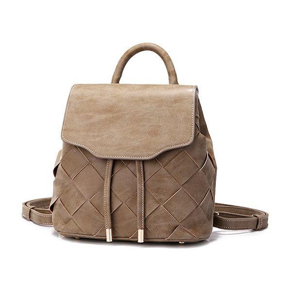Camel Suede Weaving Design Backpack (1,845 MXN) ❤ liked on Polyvore featuring bags, backpacks, camel bag, daypack bag, brown suede bag, rucksack bags and brown backpack