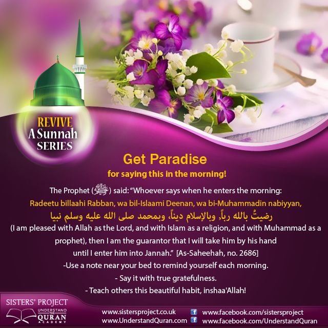 Can you imagine the Prophet (salallahu 'alayhi wa sallam) himself taking your hand and gently guiding you into the everlasting gardens of Paradise? This amazing reward can be yours. All you need to do is proclaim your happiness with Islam in the morning, using a supplication which will take you less than ten seconds! The Prophet (salallahu 'alaihi wa sallam) …