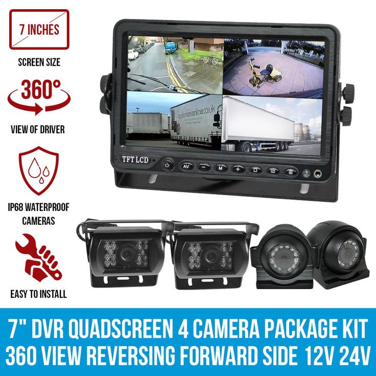 """7"""" DVR Quadscreeen 4 Camera Package Kit 360 View Reversing Forward Side 12V 24V"""