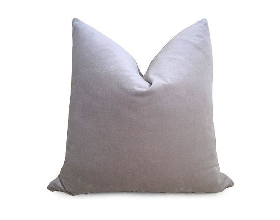 Cotton Velvet Pillow Cover - Gray - More Sizes 18 inch 20 inch 22 inch - Gray Pillow - Velvet ...