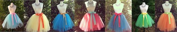 Knee Length Tulle Tutu Skirt with Satin Sash by darkponydesigns