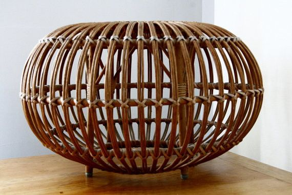 Franco Albini Rattan Ottoman Pouf by Fern Hill Road midcentury-footstools-and-ottomans