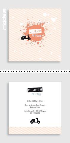 Geboortekaartjes Geboortekaartje voor een meisje met een schattige scooter_hip_typografie_zwart_wit_roze_koraal rood_oranje #www.made4.nl