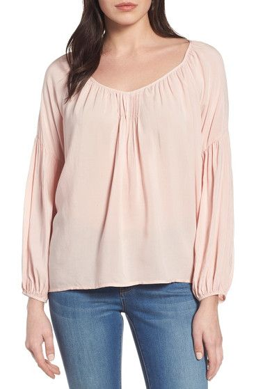 challis peasant blouse by Velvet by Graham & Spencer. Soft challis fabric brings easy drape to a pretty pleated peasant top gathered to a scooped neck and styled with bill...