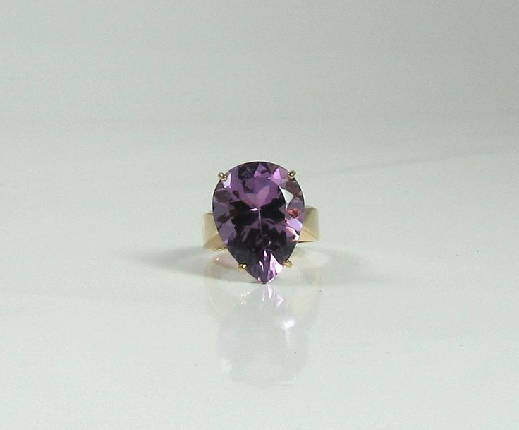 Pear Shaped Amethyst Ring; Right Hand Ring; February Birthstone Ring; Amethyst Ring; Yellow Gold Amethyst Ring; Vintage Amethyst Ring by DorothyGallunJewelry on Etsy https://www.etsy.com/uk/listing/465705639/pear-shaped-amethyst-ring-right-hand