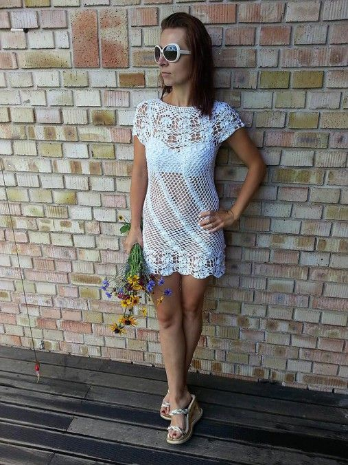 beate1 / Háčkované biele mini šatky