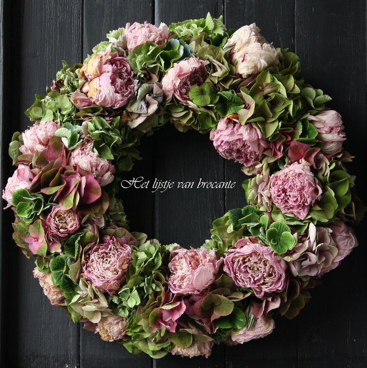 Home made wreath  with dried peonies and hydrangeas.