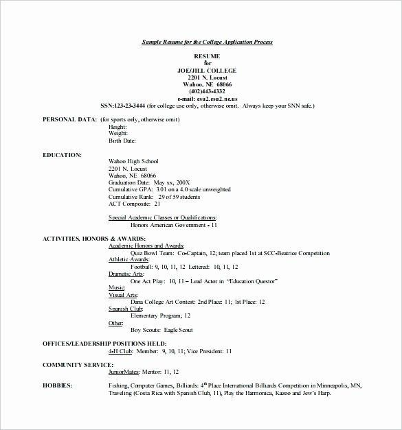 Resume Examples For College Applications Sample Application High College Resume Template College Resume College Application Resume