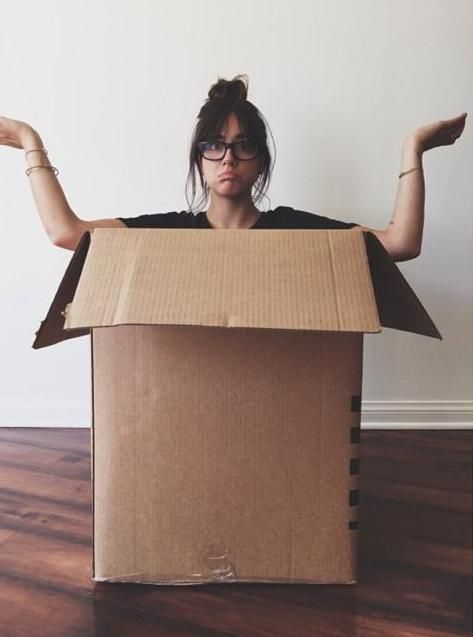 "Chloe Bennet ""This is what I look like after packing for ten hours. Also, I'm still in this box. Tweeting from inside the box…. Still here"""