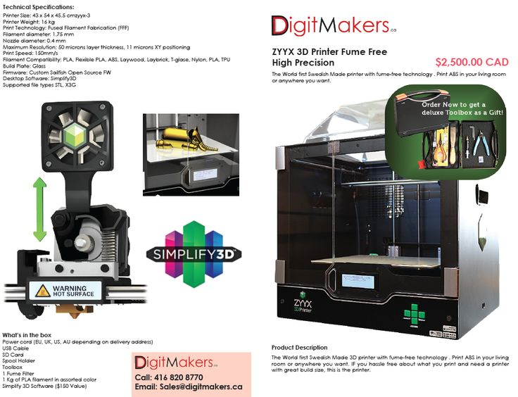 3D Printers For Sale , Fume Free ZYYX with free software , Swedish Printer