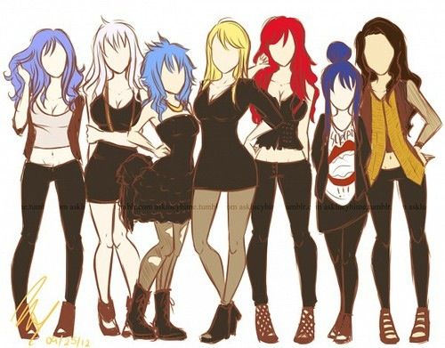 Juvia, Mira, Levy, Lucy, Erza, Wendy and Cana.
