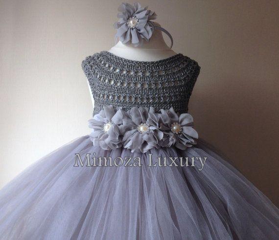 Silver Gray Grey Flowergirl dress tutu dress by MimozaLuxury
