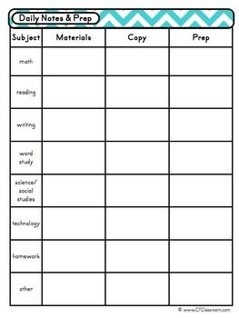 Day at a glance lesson planner for your teacher binder for Day plan template for teachers