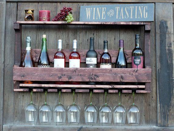 CYBER SALE!! Modern Wine Rack, Wood Wine Rack, Wall Wine Rack, 8 Wine Bottle Storage & 8 Wine Glass slots - Red Mahogany Finish