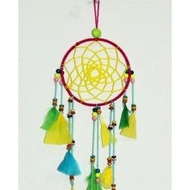 Dream hanging made of metal ring, yarn, feathers and wood beads
