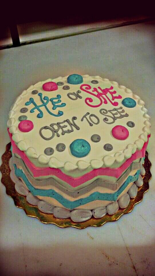Our Gender Reveal cake!! When Michael and I are expecting I absolutely want to do this!!!!