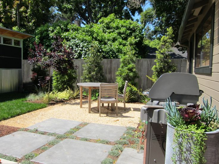 Segmented space with pavers and decomposed granite patio for Small garden areas