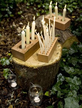 Bonfire night candles in a brick