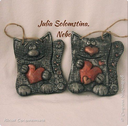 Картина панно рисунок 23 февраля 8 марта Валентинов день Лепка Котики Мое сердце для тебя Тесто соленое