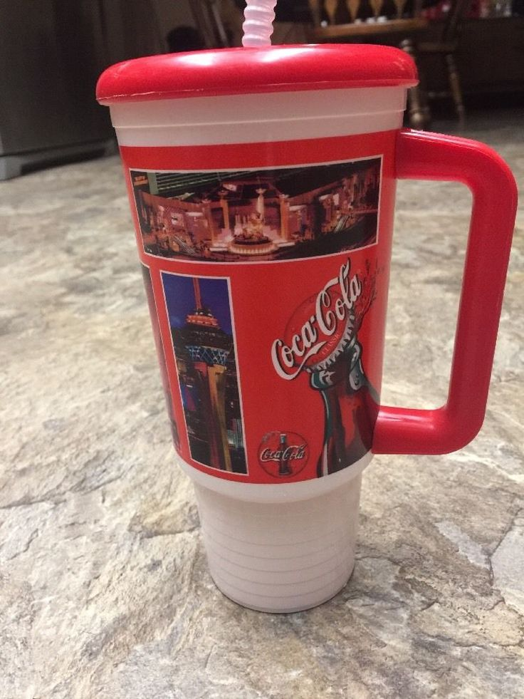 Coca-cola Las Vegas Mcdonalds Plastic Tumbler Handle Straw Cover 2000 Whirley