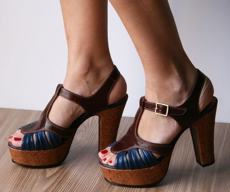 ANTHROPOLOGIE Almond & Indigo Heels CHIE MIHARA SHOES PLATFORM T-STRAP SANDALS 8 #ChieMihara #AnkleStrap #Casual