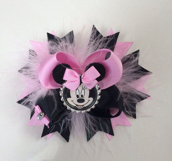 Minnie Mouse Hair Bow. Minnie Mouse Ears. Minnie Mouse bottle cap'n on Etsy, $9.99