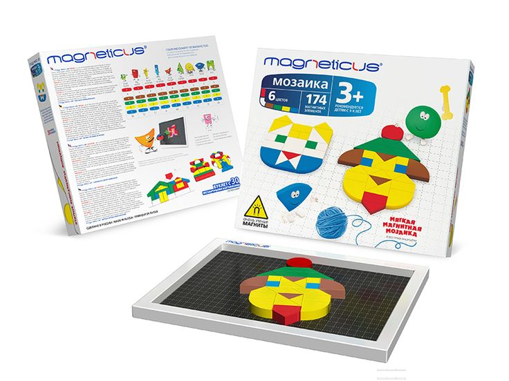 Soft Magnetic Mosaic (174 elements) 3+ The set includes a magnetically receiptive playing board + booklet with examples of pictures