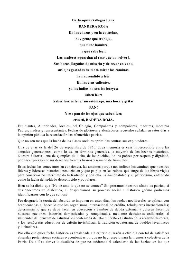 De Joaquín Gallegos Lara                                         BANDERA ROJA                                  En las choz...