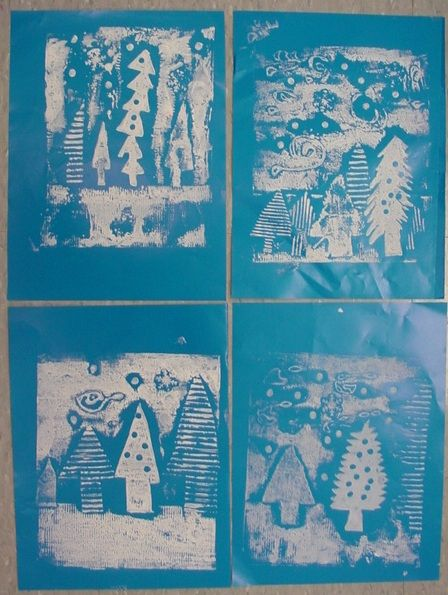Mrs. Knight's Smartest Artists: First Look at Evergreen Collagraph Prints!