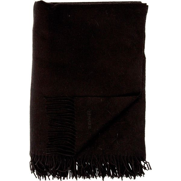 Pre-owned Herm?s Cashmere Throw Blanket ($695) ❤ liked on Polyvore featuring home, bed & bath, bedding, blankets, black, cashmere bedding, hermes throw, black cashmere throw, hermes throw blanket and fringe blanket